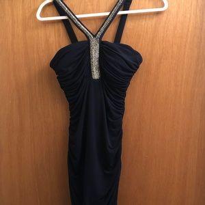 Dark Blue Body Con with Beading on straps